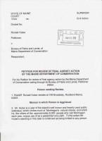 Front page of petition sent to ME superior Court re monhegan offshore wind test area. R&D center. Jan 25, 2010