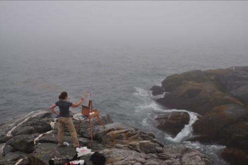 Rebecca Leer paints Monhegan
